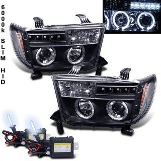 Eautolight 6000k Slim Xenon HID Kit+07 11 Toyota Tundra Halo LED Projector Head Lights: Automotive