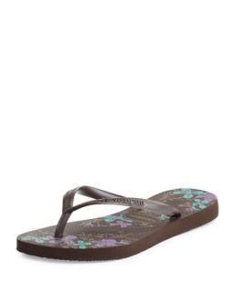Slim Floral Print Flip Flop, Dark Brown   Havaianas   (35/36)