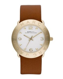 36mm Amy Analog Watch with Tan Strap, Yellow Gold   MARC by Marc Jacobs   Tan