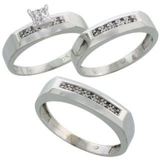 10k White Gold Diamond Trio Engagement Wedding Ring Set for Him and Her 3 piece 5 mm & 4.5 mm, 0.14 cttw Brilliant Cut, ladies sizes 5   10, mens sizes 8   14: Jewelry