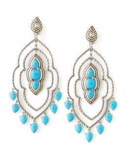 Batu Dot Morocco Chandelier Earrings, Turquoise   John Hardy   Silver