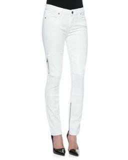 Womens Demi Moto Style Skinny Jeans, White   Paige Denim   White (29)