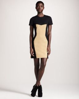 Womens Colorblock Jersey Dress   10 Crosby Derek Lam   Black/Camel combo (10)