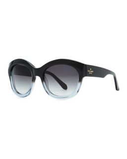 arianna cat eye polarized sunglasses, black stripe   kate spade new york