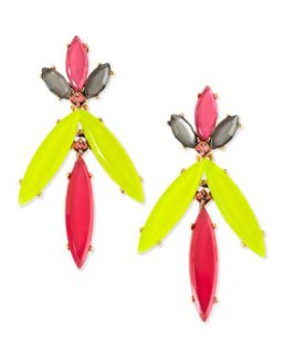 Marquise Resin Drop Clip On Earrings, Pink/Yellow/Multi   Oscar de la Renta