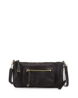Dylan Perforated Leather Crossbody Bag, Black   Linea Pelle