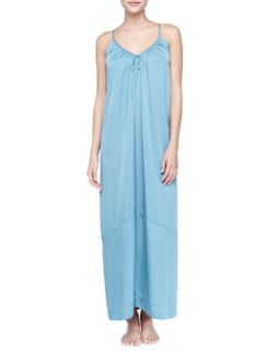 Womens Laundered Long Satin Nightgown, Cerulean Sky   Donna Karan   Cerulean