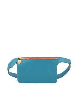 Perforated Petite Fanny Pack, Aqua   Clare Vivier   Aqua blue