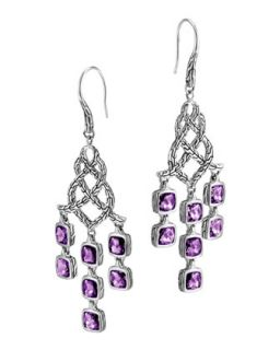 Batu Chain Silver Amethyst Chandelier Earrings   John Hardy   Amethyst
