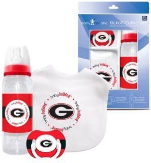Georgia Bulldogs Baby Three Piece Gift Set Feeding Bib Bottle Pacifier: Sports & Outdoors