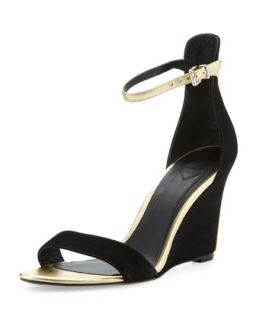 Roberta Suede Wedge Sandal, Black/Gold   B Brian Atwood   Black (gold) (36.0B/6.