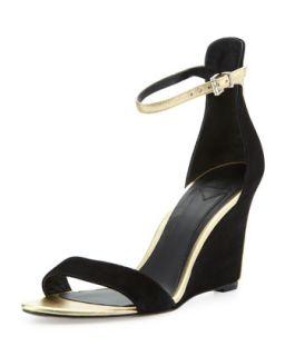 Roberta Suede Wedge Sandal, Black/Gold   B Brian Atwood   Black (gold) (36.0B/6.