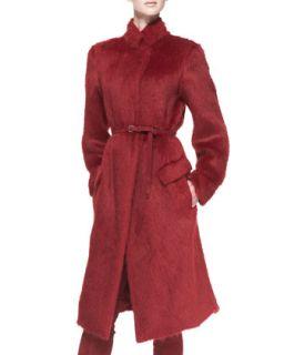 Womens Belted Alpaca Blend Military Coat, Ruby Red   Donna Karan   Ruby (2)