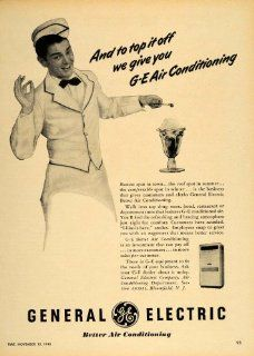 1948 Ad GE Air Conditioning Ice Cream Sundae Soda Jerk   Original Print Ad