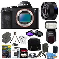 Sony ILCE 7S/B a7S Full Frame Camera, 35mm Lens, 64GB Card, 2 Batteries, Flash B
