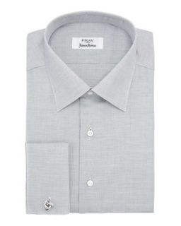 Mens Micro Dot Cotton Shirt, Gray   Fray   Gray (16R)