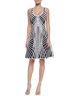 Womens Eva Optic Crisscross Print Sleeveless Dress   Herve Leger   Anthracite