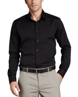 Mens Stretch Cotton Shirt, Black   Theory   Black (LARGE)