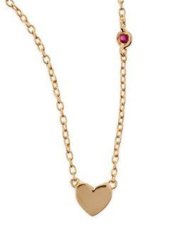 Heart Bezel Ruby Pendant Necklace   SHY by Sydney Evan   Gold