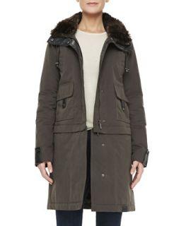 Womens The Faux Fur Trim Storm Coat   Bagatelle   Cognac (LARGE/12)