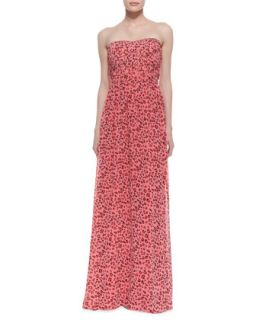 Womens Strapless Animal Print Gown, Geranium   Erin Fetherston   Geranium
