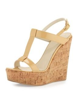 Erin Cork Leather Wedge, Nude   Dee Keller