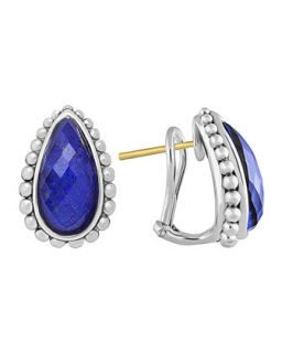 Silver Maya Lapis Half Hoop Stud Earrings   Lagos   Silver