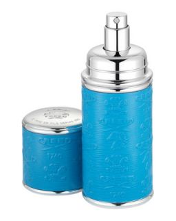 Logo Etched Leather Atomizer, Silver/Blue   Creed   Silver