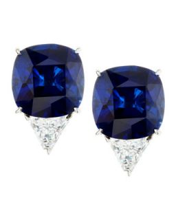 Cushion Cut Cubic Zirconia Stud Earrings   Fantasia by DeSerio   Sapphire/Clear