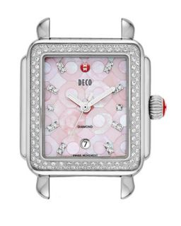 Deco Diamond Mosaic Stainless Steel Watch Head, Pink   MICHELE   Gray