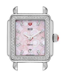 Deco Diamond Mosaic Stainless Steel Watch Head, Pink   MICHELE   Gray