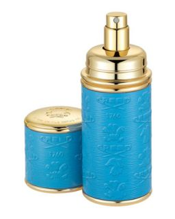 Logo Etched Leather Atomizer, Gold/Blue   Creed   Gold