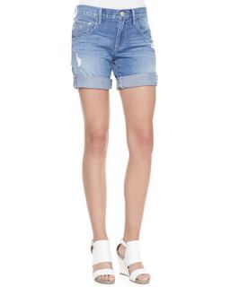 Womens Miles Distressed Cuffed Jeans Shorts, White Gardenia   True Religion