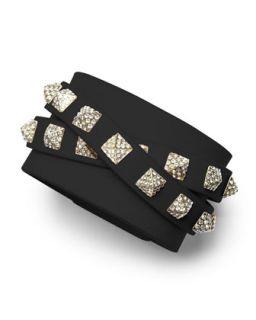 Rockstud Multi Strand Crystal Stud Leather Bracelet, Black   Valentino   Black