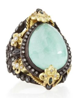 Old World Pear Green Turquoise Doublet Ring   Armenta   Gold (8)