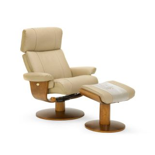 MAC Motion Oslo Collection Massaging Air Lumbar Top Grain Leather Swivel Recliner with Ottoman   Khaki Tan   Home Theater Seating