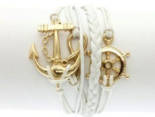 White Anchor Bracelet Ships Wheel Infinity Friendship Rope Leather Gold Tone Steampunk Adjustable Vintage Style Carolyn Jane's Jewelry Jewelry