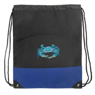BLUE CRABS Drawstring Bag Backpack Royal Blue Crab Draw String Back Pack Bag: Clothing
