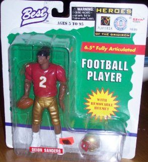 DEION SANDERS / FLORIDA STATE UNIVERSITY SEMINOLES * 1997 NCAA College Football * 6.5 Inch * Best Heroes of the Gridiron Fully Articulated Action Figure & Removable Football Helmet Toys & Games