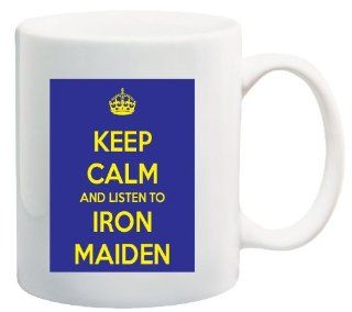 Keep Calm and Listen to Iron Maiden   11 Oz Coffee Mug Blue and Yellow Album CD   Nice Motivational And Inspirational Office Gift: Kitchen & Dining