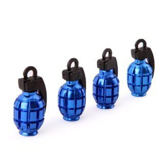 HDE (TM) Blue Grenade Shaped Aluminum Tire Valve Caps   Set of 4 : Decorative Bike Valve Caps : Sports & Outdoors