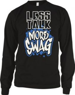 Less Talk More Swag Men's Long Sleeve Thermal, Graffiti Style Swagger Design Men's Thermal Shirt: Clothing
