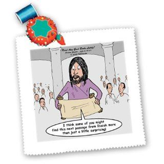 qs_44474_1 Rich Diesslins Funny Cartoon Gospel Cartoons   Luke 4 14 21   Read Any Good Books Lately with Jesus in the Synagoge   Quilt Squares   10x10 inch quilt square