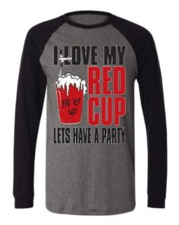 I Love My Red Cup Lets Have a Party Men's Long Sleeve Baseball T shirt Funny Drunk Drinking Design Baseball Shirt Clothing