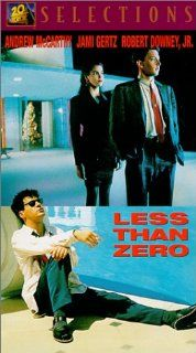 Less Than Zero [VHS]: Andrew McCarthy, Jami Gertz, Robert Downey Jr., James Spader, Tony Bill, Nicholas Pryor, Donna Mitchell, Michael Bowen, Sarah Buxton, Lisanne Falk, Michael Greene, Neith Hunter, Edward Lachman, Marek Kanievska, Michael Tronick, Jon Av