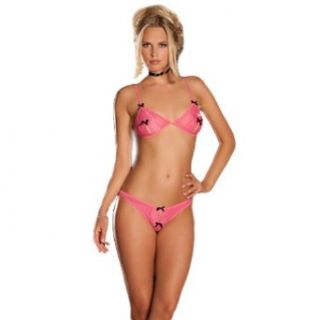 2 Piece Peek  A Boo Bra and Crotchless Pink Small Medium Clothing