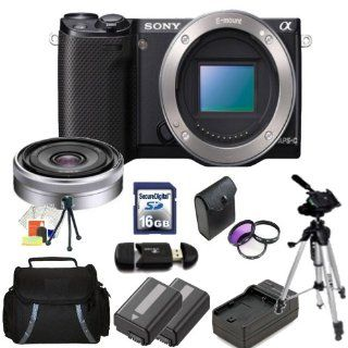 Sony Alpha NEX 5R Mirrorless Digital Camera Kit with Sony E Mount 16mm f/2.8 Wide Angle Alpha E Mount Lens. Includes: 3 Piece Filter Kit(UV CPL FLD), 16GB Memory Card, Memory Card Reader, 2X Extended Life Replacement Batteries, Rapid Travel Charger, Carryi