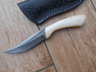 Sale! Custom Made Knives   Damascus Steel   Mammoth Bone Handles Perfect Custom Made Stalking Knife : Sports & Outdoors