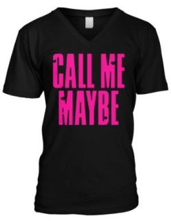 Call Me Maybe Mens V Neck T shirt, Neon Pink Hot Trendy Lyrics Men's V neck Shirt Clothing