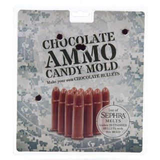Chocolate Candy Bullet Mold   Full Sheet   This plastic candy bullet mold makes 20 bullets. Flat on one side so you can display them or refill your favorite chocolate ammo tin. Be creative, use your chocolate candy bullet mold to make bullets out of Jello